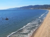 Helicopter flight over the beach in santa monica ca