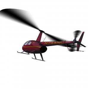 Robinson R44 flying render