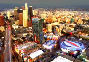 LA helicopter tour downtown view
